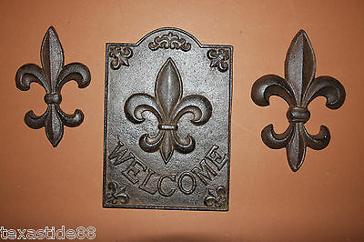 (3),FLEUR DE LIS, CAST IRON WALL PLAQUES, WALL DECOR, NEW ORLEANS, FRENCH LILY