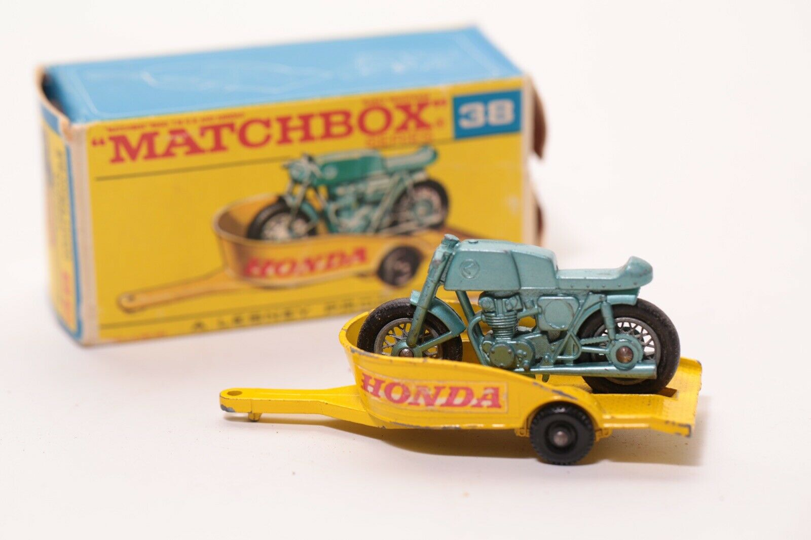 Vintage Matchbox Honda Motorcycle & Trailer 38 Original Box