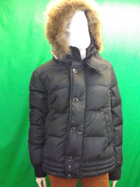 NWT MONCLER BLACK RIBERA QUILTED DOWN JACKET HOODED COYOTE FUR PUFFER PARKA 4 L