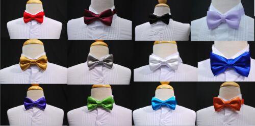 Boys Satin Bow tie Bowtie 13 COLORS Green Blue Fuchsia Red Gold Silver Purple