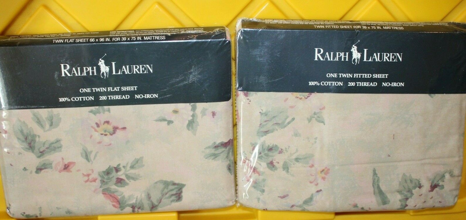 Ralph Lauren FRANCESCA Floral FITTED & FLAT Cotton TWIN Sheets - NIP - VERY RARE