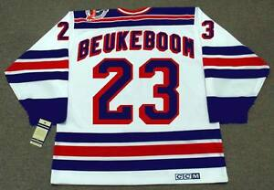 reputable site e46e2 a72bf Details about JEFF BEUKEBOOM New York Rangers 1994 CCM Vintage Home NHL  Hockey Jersey