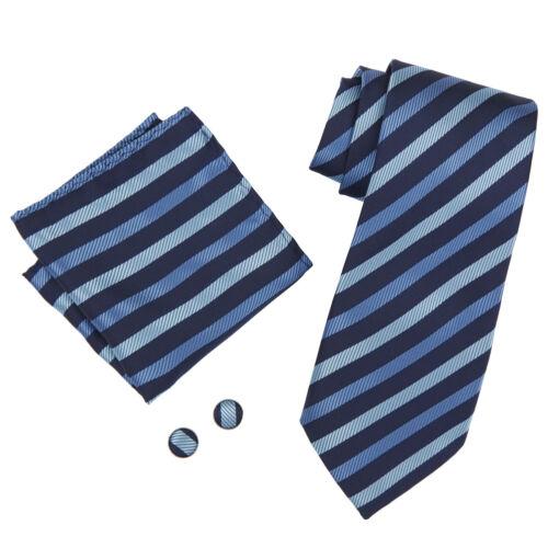 Mens Tie Handkerchief Cufflink Set Hanky Business Formal Office Wedding Gift Box
