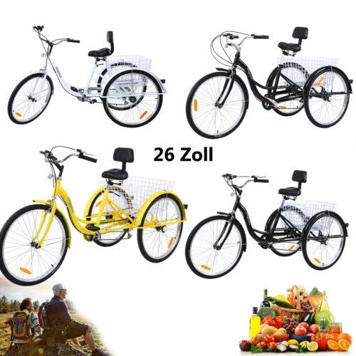 26 Zoll Adult Dreirad Fahrrad 3-Räder Tricycle 7-Gang Shopping Tribike Ridgeyard