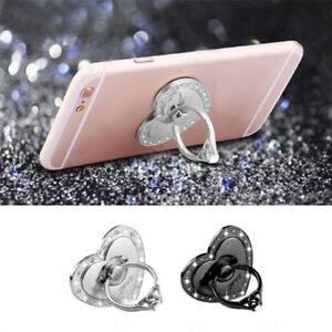 Crystal-Cuore-Forma-SUPPORTO-Bling-Diamante-Anello-Dito-per-telefono-cellulare-nuovo-x1