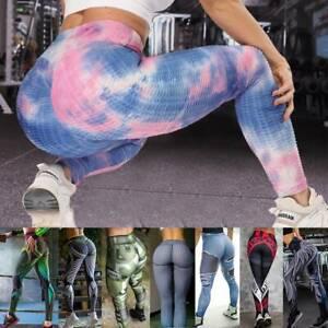 UK Womens Booty Scrunch Yoga Gym Leggings Fitness Solid Butt Lift Elastic Pants