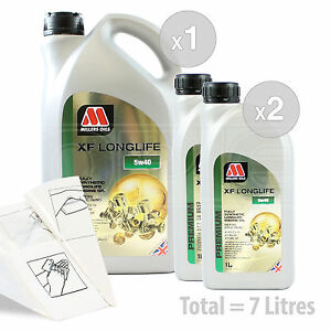 Car-Engine-Oil-Service-Kit-Pack-7-LITRES-Millers-Oils-XF-LONGLIFE-5w-40-7L