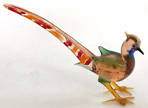 Vintage-Colored-Glass-Pheasant-Figurine-Hand-Blown-5-Inch