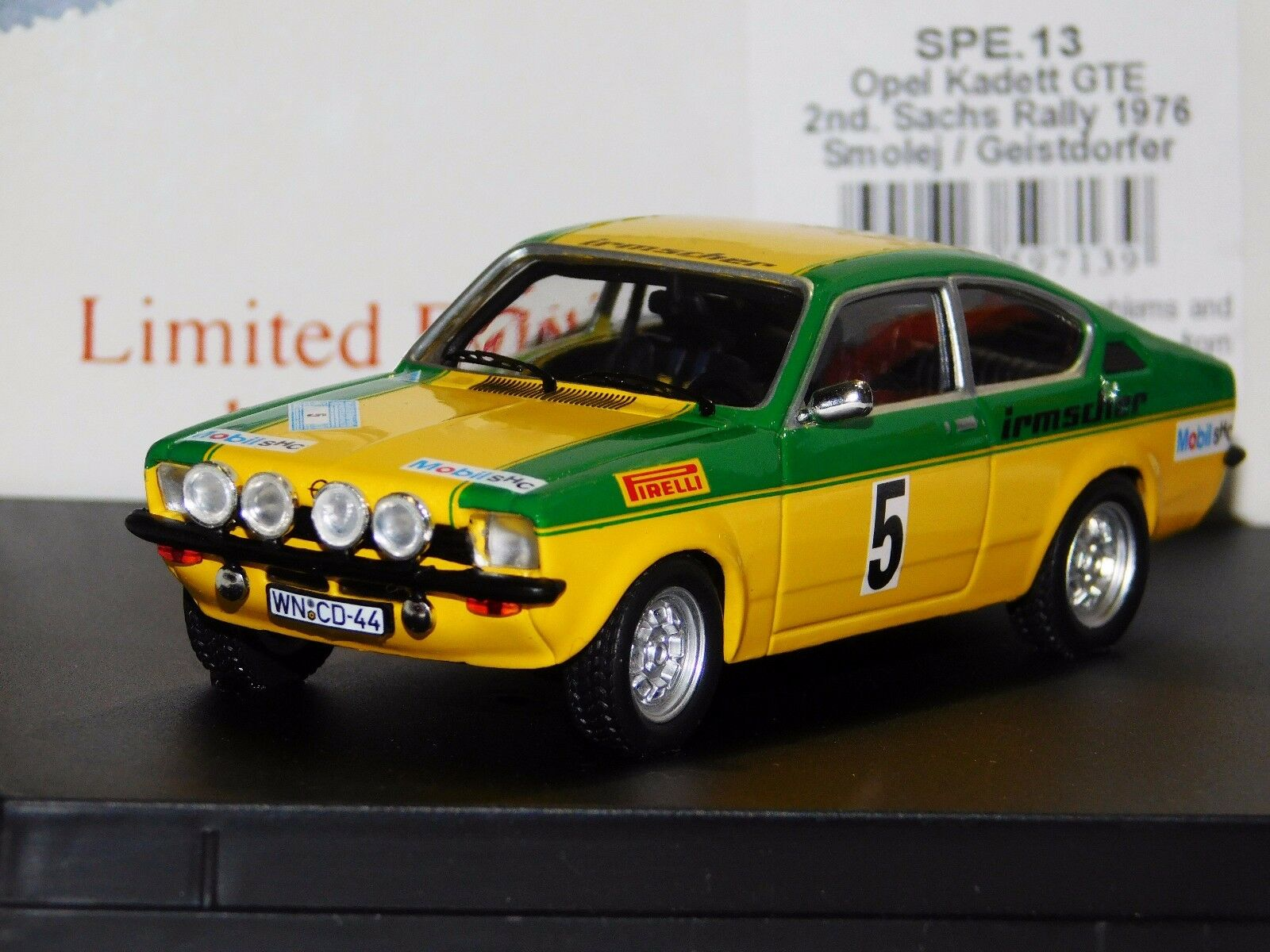 OPEL KADETT GTE  SMOLEJ 2nd WINNER SACHS RALLY 1976 TROFEU SP. ED. SPE13 1 43
