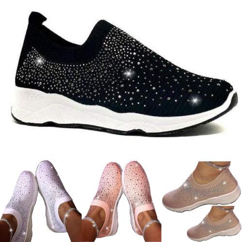 Fashion Ladies Slip On Glitter Breathable Mesh Sneaker Women Stretch Sports Shoe