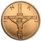 1 once 999 Cuivre Round Médaille Inri Jésus sur Croix Religion argenté Carapace