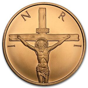 1-oz-999-Kupfer-Copper-Round-Medaille-Inri-Jesus-am-Kreuz-Religion-Silver-Shield