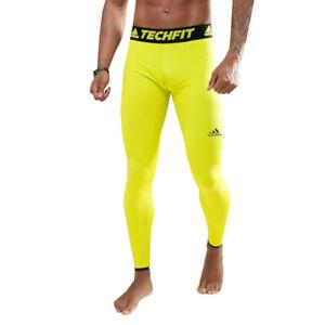 adidas-Hommes-TechFit-Preparation-CH-Collant-Gym-Fitness-Leggings-Jaune-Sport