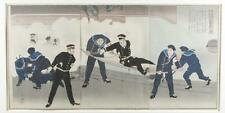 Japanese triptych woodblock print, Kiyochika. Lot 440