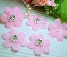 "30 Pink 1 1/4"" Padded Flower w/ Sparkling Rhinestone Wedding Appliques"