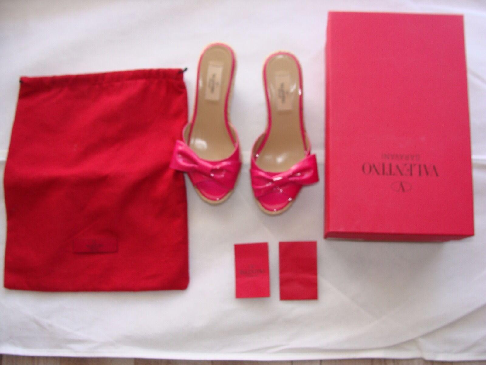 Valentino Arco rosado Charol Cuña Cuña Cuña Alpargata diapositiva Zapato Mena Talla 36 6 US  buena reputación