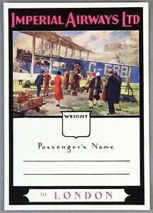 IMPERIAL-AIRWAYS-LONDON-VINTAGE-ORIGINAL-AIRLINE-LUGGAGE-LABEL-HANDLEY-PAGE-W8-B