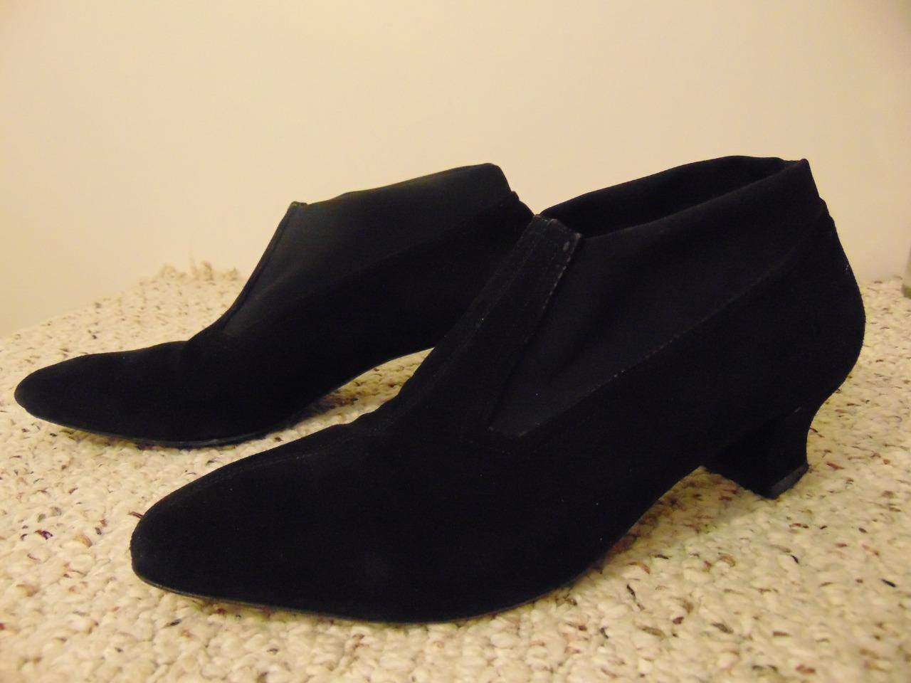 428 Women Thierry Rabotin Suede Black Booties Flair Shoes Size 37.5