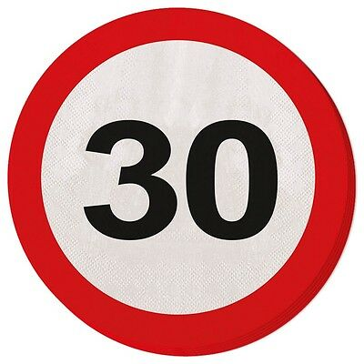 20 Servietten Verkehrsschild 30 Geburtstag Deko Tischdeko Party Schild Jubiläum