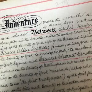 Antique 1903 Vellum Document Pendle House Hull Vintage Vicar Bridlington Links