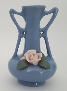 Japanese-Art-Pottery-Small-Vase-Made-in-Japan-Purple-Pink-Flower-4-1-4-034-Vintage