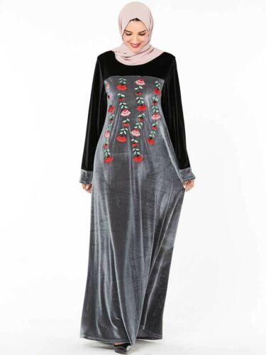 Abaya Dubai Muslim Winter Velvet Dress Islamic Women Embroidery Long Robe Jilbab