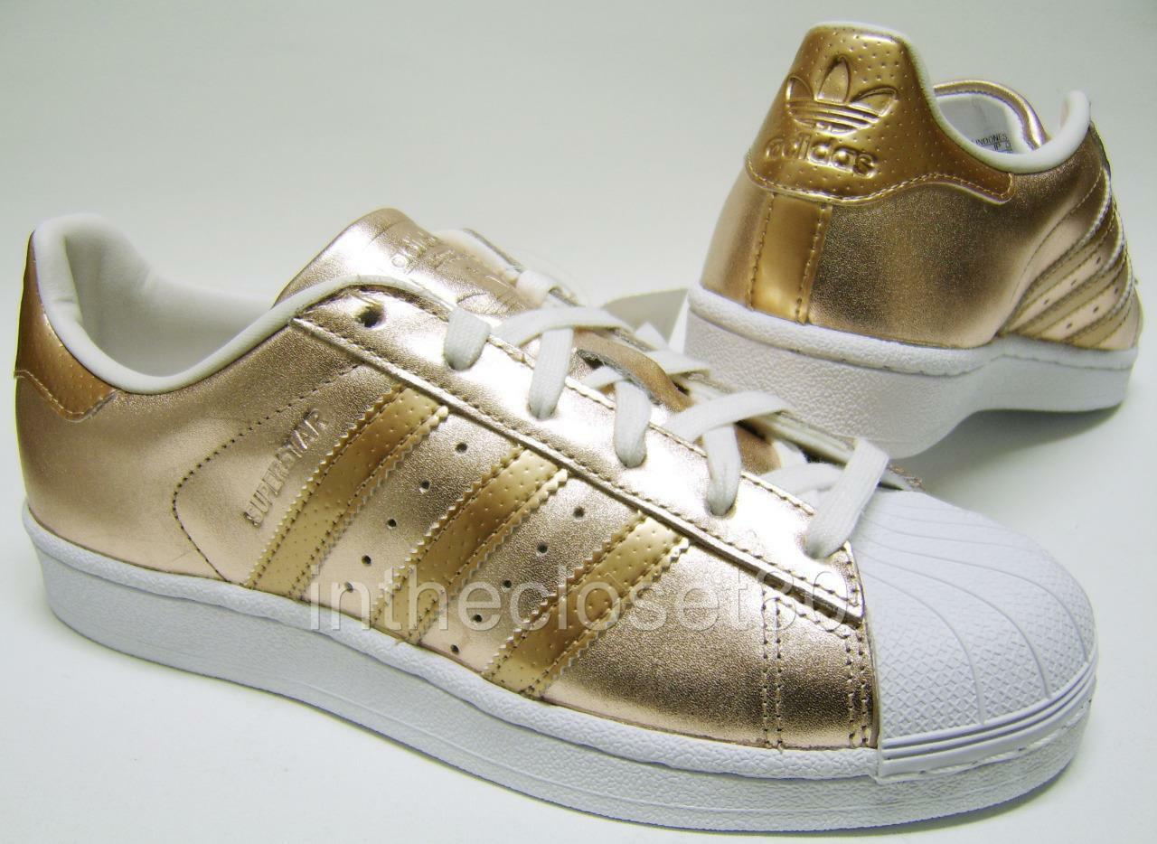 Adidas Superstar Metallic Rose Gold Gold Gold Leather White Womens Girls Trainers BA7664 0460f7