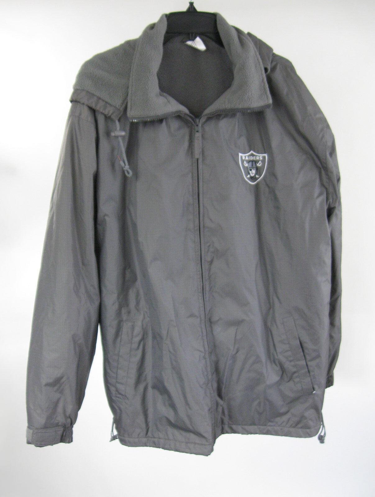 Oakland Raiders Sports grau Coat XL Fleece Lined Remoavble Hood Sz Extra Large
