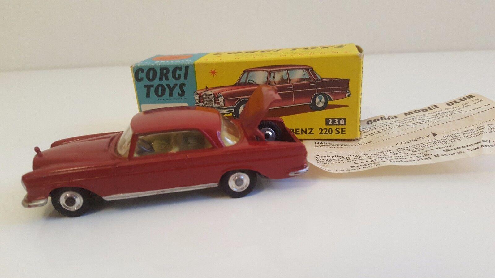 Corgi Toys - 230 - Mercedes 220 SE Coupé en boîte d'origine VN Mib