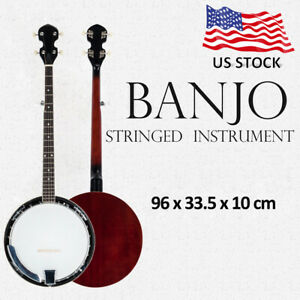 Top-Grade-Exquisite-Professional-Wood-Metal-5-string-Banjo-White-amp-Wood-Color
