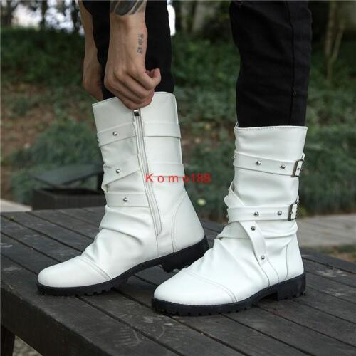 Hot Men Strappy Rivet Mid Calf Boot Riding Fashion zip casual Punk ankle boot