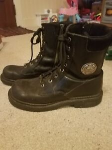 860a040eca4 Harley-Davidson black leather boots 91647 side zip metal logo men's ...