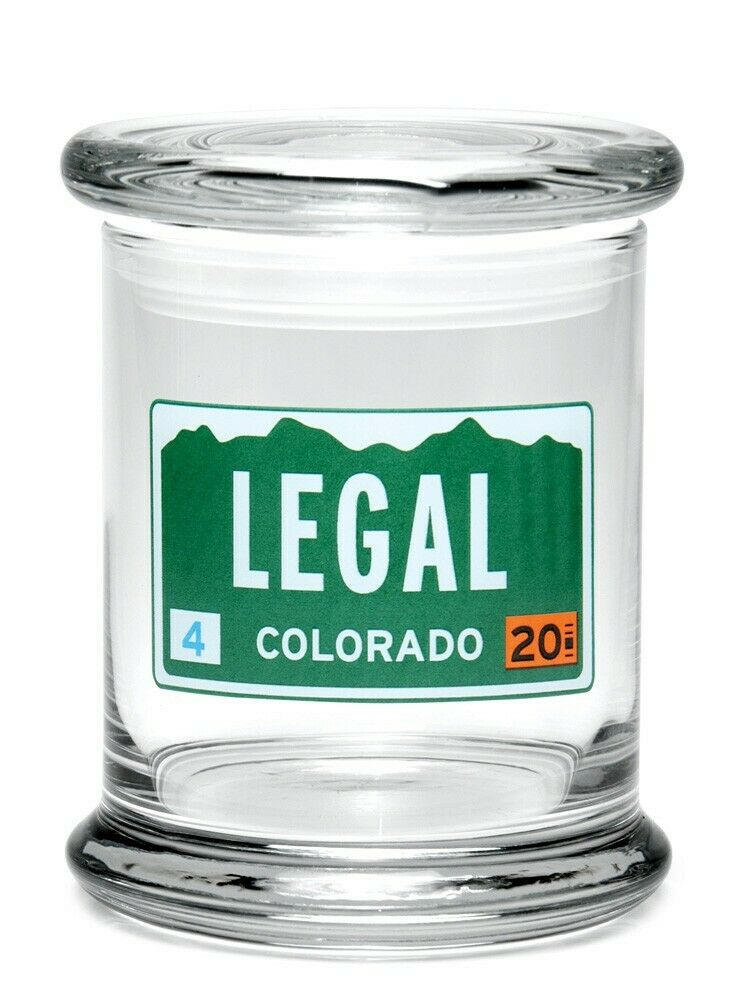 "420 Science Brand 4"" Glass Herb Spices Pop Top Jar Legal Colorado Plate 1"
