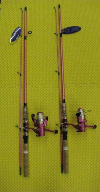 "Okuma 2pc 6/' 6/"" Pink Fin Chaser Rod Reel Combo Medium Light Fishing Pole w//Line"