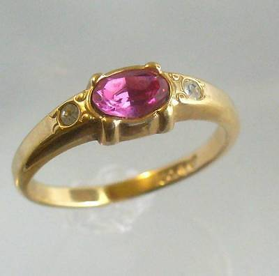 Avon Vintage 1984 Simulated Pink Diamond Ring Goldtone Sizes 3 8 Ebay