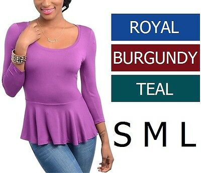 ROYAL BLUE / TEAL / BURGUNDY Rayon 3/4 Sleeve Peplum Top Sizes S M L