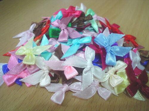 "tied 1//4/"" 100 pcs muti-color satin ribbon bow size 7 mm"