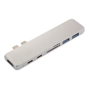 7in1 DUAL Type-C Hub Multi Port Lettore di schede adattatore HDMI per MacBook Pro 2018