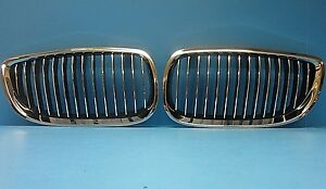 2 Hood Grills Front Left /& Right Replace BMW OEM # 51138208489//90 Chrome Black