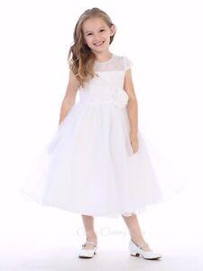 Ivory Lace Tulle Layered Flower Girl Fancy Elegant Easter Communion Girl Dress