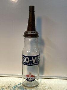 Standard ISO-VIS Motor Oil Bottle Spout Cap Glass Vintage Style Gas Station
