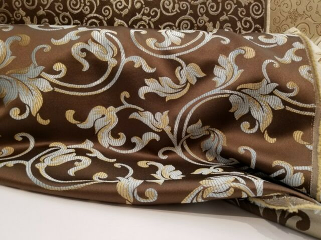 Jacquard  Upholstery and  Drapery  Fabric, Color Chocolate By the Yard, 58