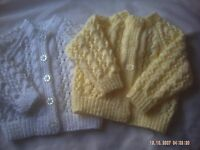 Hand Knitted Baby Girls Round Neck Cardigans In A Lacy Pattern Size 0-3 Months.