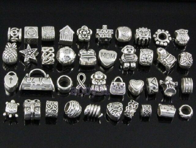 40pcs /Lot Tibetan Silver Tone Mix Big Hole Beads Fit Charm Bracelet ZN02