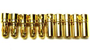 C0401 RC Connecteur 4 Mm 4.0 mm Plaqué Or Mâle et Femelle Balle Banane X 10 Set