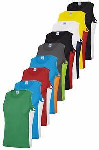 Hombre-Contraste-Poliester-Transpirable-Deportes-Atleticos-Camiseta-sin-Mangas