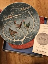 Haviland Limoges The Twelve Days of Christmas Plate Three French Hens  1972