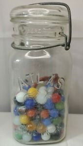 Vintage-Atlas-034-good-luck-034-Mason-Jar-half-Full-Of-Marbles