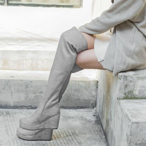 Nouveau Débardeur Stretch cavalières Cuissardes Bottes À Enfiler Talon Compensé Talon Haut Chaussures