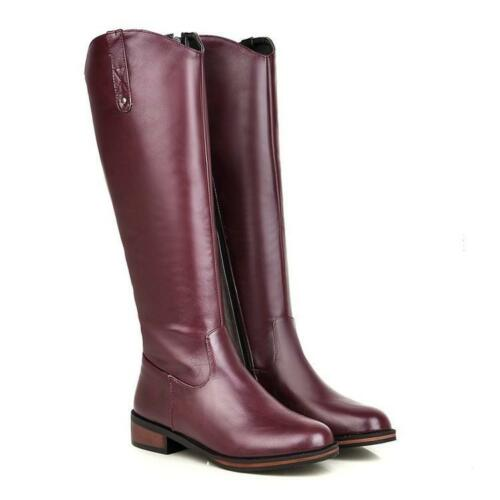 Womens New Knee High Boots Riding Med-heels Size zip Formal Boots Plus Sz